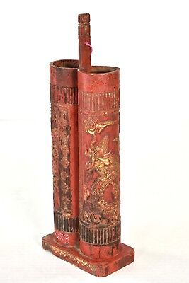 Antique Chinese Red & Gold Bamboo & Wood Incense Holder w Dragon & Phoenix Decor