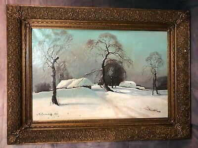 Beautiful winter oil painting signed and dated by Kolesnikoff