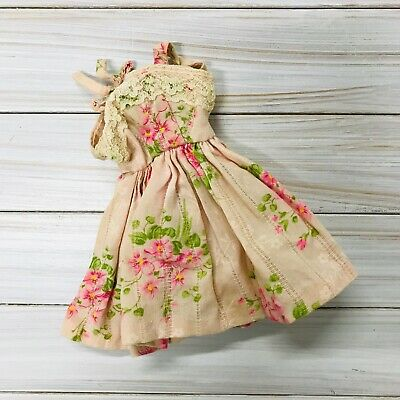 """Vintage Barbie Sized Untagged Pink Floral Sun Dress Lace 11.5"""" Fashion Doll Bow"""