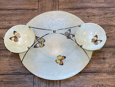 Vintage Mid Century 4 Piece Snack Server, Chip and Dip, Buffet, Butterfly Theme