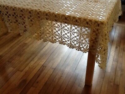 Antique Vintage Geometric Crochet Tablecloth, 60 X 85""
