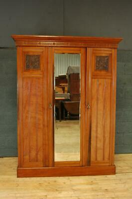 Antique Edwardian Walnut Triple Wardrobe Compactum