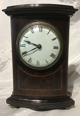 Antique  8 Day Mahogany And Boxwood Stringing Mantle Clock A/F.