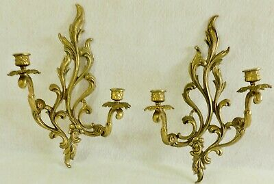 "Large Pair Antique/Vtg 16"" Ornate Solid Brass Flower Candle Holder Wall Sconces"
