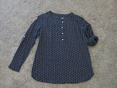 Ann Taylor Loft Navy Blue with White Square Dots Henley Tunic Blouse Top Size M