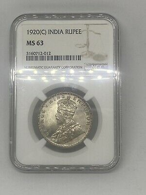 1920-C INDIA 🇮🇳 BRITISH RUPEE - NGC MS 63 - Silver Collectible World 🌍 Coin