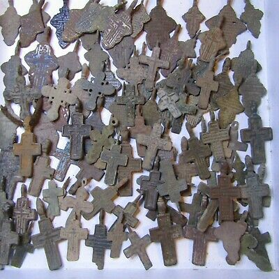 Ancient crosses 14-19 century MIX of ancient finds.Metal detector finds(100 pcs)