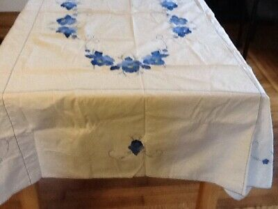 Vintage Hand Worked Cross Stitch Blue Floral Applique Tablecloth, 63 X 85