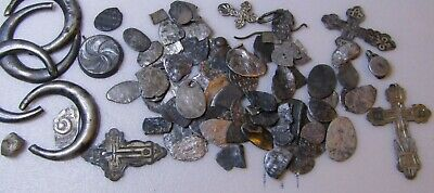 Ancient silver 13-19 century MIX of ancient finds.Metal detector finds