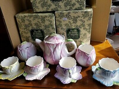 Vtg1992 THE BOMBAY CO 11pc Tea Set, Cups, Saucers, Creamer, Sugar, Tea Pot