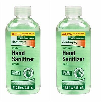 TWO Refills Assured Hand Sanitizer with Vitamin & Aloe 11.2oz Kills 99% Of Germs