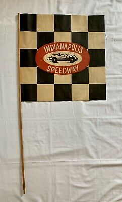 Vintage Indianapolis Motor Speedway Indy 500 Souvenir Checkered Race Flag & Pole