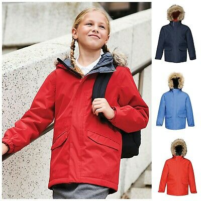 Childrens Regatta Waterproof School Coat Jacket Parka Boys Girls Kids Fur Hood