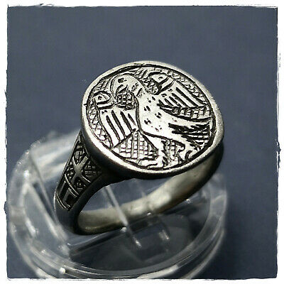 ** EAGLE ** IC - XC initials ancient SILVER  BYZANTINE or MEDIEVAL RING ! 6,27g