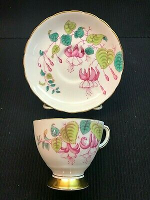 Tuscan Fine English Bone China Tea Cup And Saucer Fuchsia Floral England