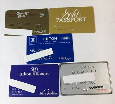 5 Vintage Expired Credit Cards For Collectors - Hotel Charge Card Lot (7151)