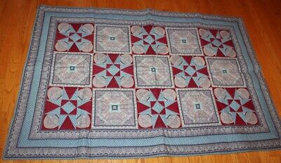 """VTG Patchwork - Blue & Red - Throw/Wall Hanging - Machine Quilted- 58"""" x 40""""-EUC"""