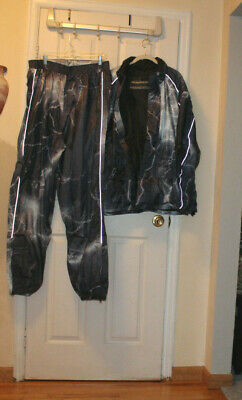 Fieldsheer Motorcycle 2Pcs Rain Suit Navy&Gray, Phoslite, Zippered Pants Bottom