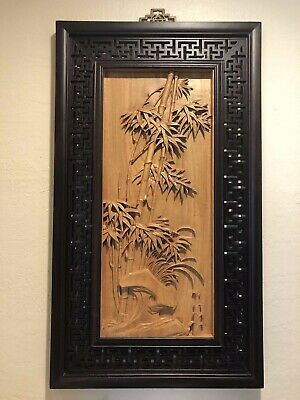 Rare Vintage Chinese Hand Carved Wood Hanging Wall Art with Rosewood Frame