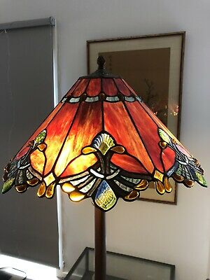 Beautiful Vintage Tiffany Style Stained Glass Floor Lamp