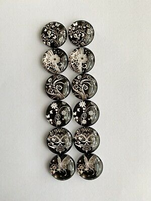 6 Pairs Of 12mm Glass Cabochons #653