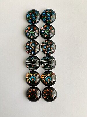 6 Pairs Of 12mm Glass Cabochons #997