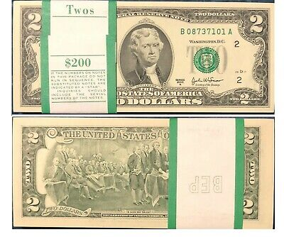 100 US $2 Note's Consecutive in Mint Uncirculated Condition and very Rare!!!!