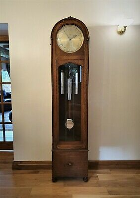 Rare 1930S Art Deco Oak Longcase Smiths Enfield Collingwood Logo 1/4 Chimes