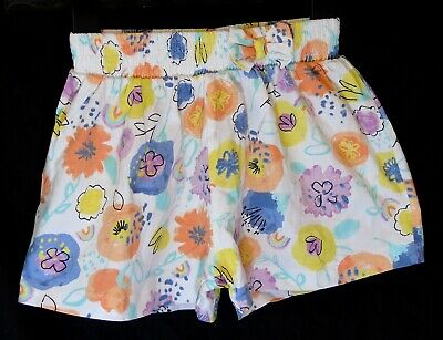 Girls TU White Orange Blue Lilac Floral Rainbow Soft Jersey Shorts Age 3-4 Years