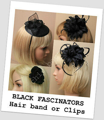 Flower Feather Pearl Corsage Hair Clip Fascinator Hairband Pin Black Quality New