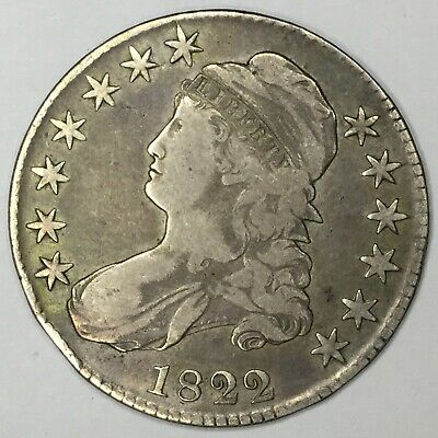 1822 50C Capped Bust Half Dollar F Uncertified