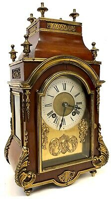 Stunning Antique French Bracket Clock With Side Windows And Brass Dial