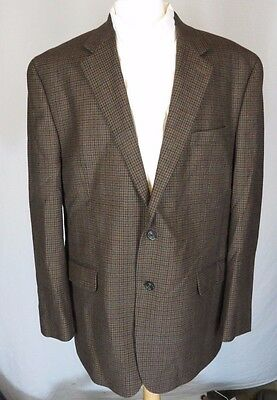 46 L Chaps  Mens Brown Houndstooth 100% Lambswool Blazer Sport Coat EUC