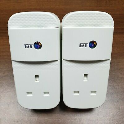 2 x BT Mini Connector 1GB 1000Mbps Powerline Adapters Homeplugs ANY Internet