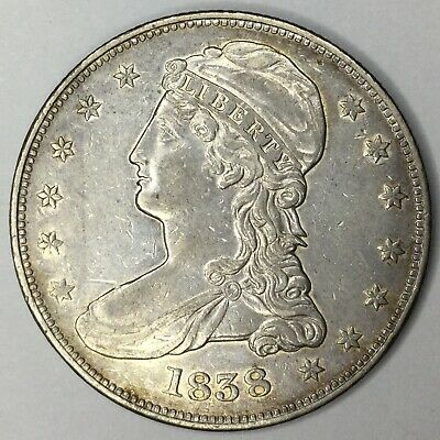 1838 50C Capped Bust Half Dollar Reeded Edge XF+ Uncertified