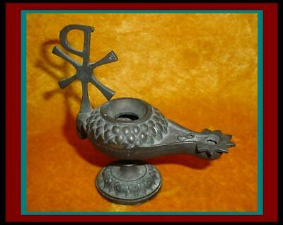 Antique ROMAN BYZANTINE BRONZE OIL LAMP w/ XP Chi Rho Symbol & Lamb Head
