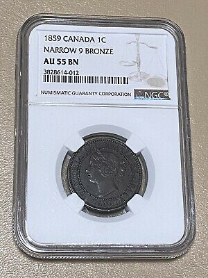 "1859 Canada 🇨🇦 1-C One Cent ""Narrow 9 Bronze"" Coin NGC AU-55 BN - *KEY🔑DATE!"