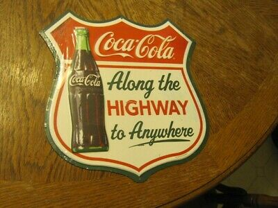 COCA COLA Along the Highway to Anywhere Embossed Metal Sign - 12 x 12 inches
