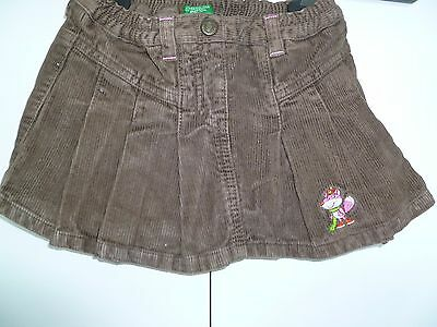 Girls United Colors of Benetton Brown Cord Skirt Age 12 months