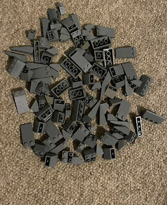 100x Lego Dark Grey Roof Slopes Mixture Of Different Sizes As Shown In Picture