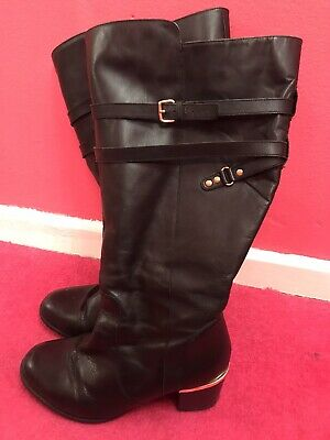 Evans Black Leather Boots 7eee Extra Wide
