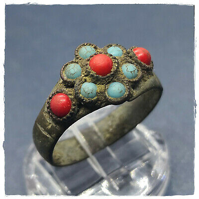 ** RED and BLUE stones ** ancient bronze MEDIEVAL or BYZANTINE RING ! 3,69g