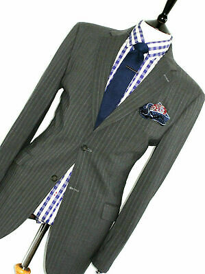 Mens Ted Baker Endurance London Charcoal Grey Chalkstripe Suit 44R W38 X L31