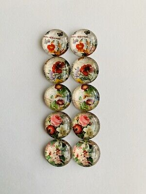 5 Pairs Of 12mm Glass Cabochons #828