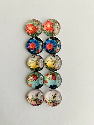 5 Pairs Of 12mm Glass Cabochons #464