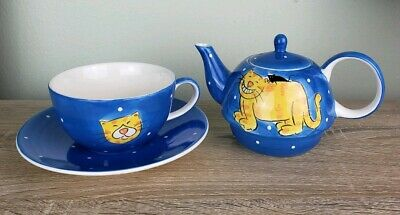 Ceramic Happy Cats Stack Set Teapot Tea For One Cup Saucer Polka Hand Painted