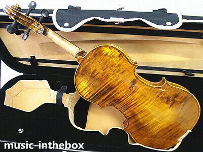 Special Antique 4/4 One Piece flamed Violin+Bow+Rosin+Oblong Shape Case #AQ482