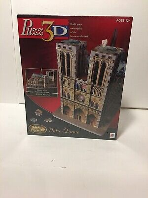 2005 Hasbro Puzz 3D NOTRE DAME Cathedral Church 3D 366 Piece Puzzle - Sealed