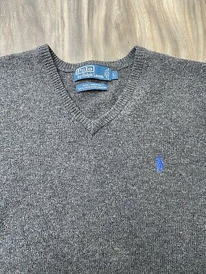 Polo Ralph Lauren V-Neck 100% Lambs Wool Grey Pullover Sweater Mens Size L