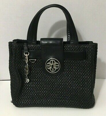 My Flat in London Brighton Purse Jamie Bag Black Woven Straw Leather $310 MSRP